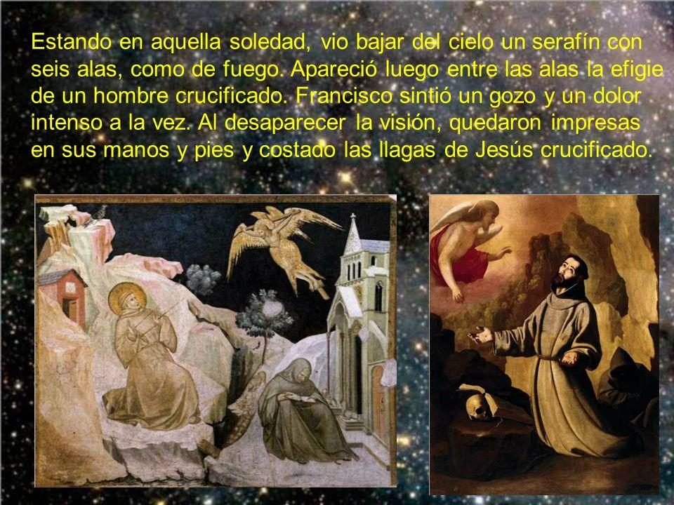 En 1224 se retiró san Francisco a una pequeña cabaña del monte Alberna. Sólo le acompañó el hermano León. Como estaba muy débil, un campesino le prest