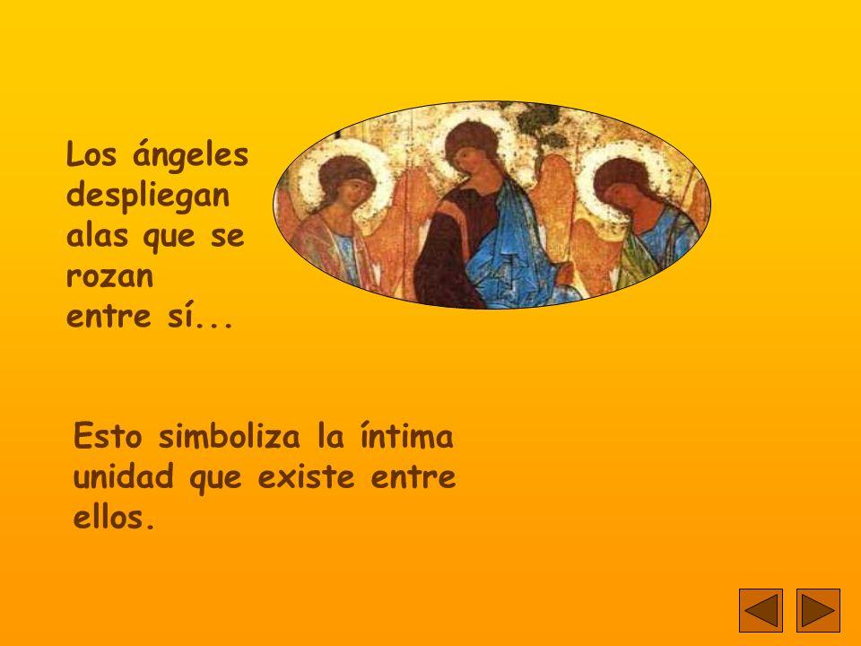El icono representa la visita de tres ángeles a Abraham, junto al encinar de Mambré...