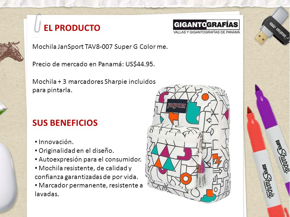 EL PRODUCTO Mochila JanSport TAV8-007 Super G Color me. Precio de mercado en Panamá: US$44.95. Mochila + 3 marcadores Sharpie incluidos para pintarla.