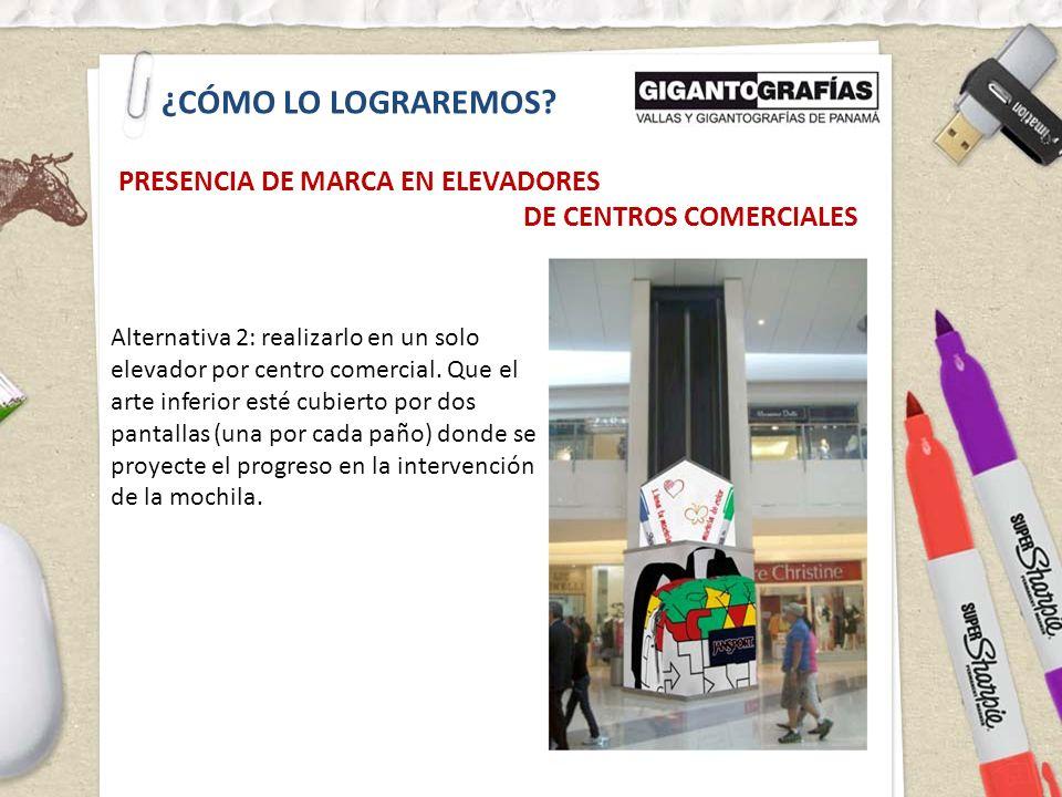 ¿CÓMO LO LOGRAREMOS? PRESENCIA DE MARCA EN ELEVADORES DE CENTROS COMERCIALES Alternativa 2: realizarlo en un solo elevador por centro comercial. Que e