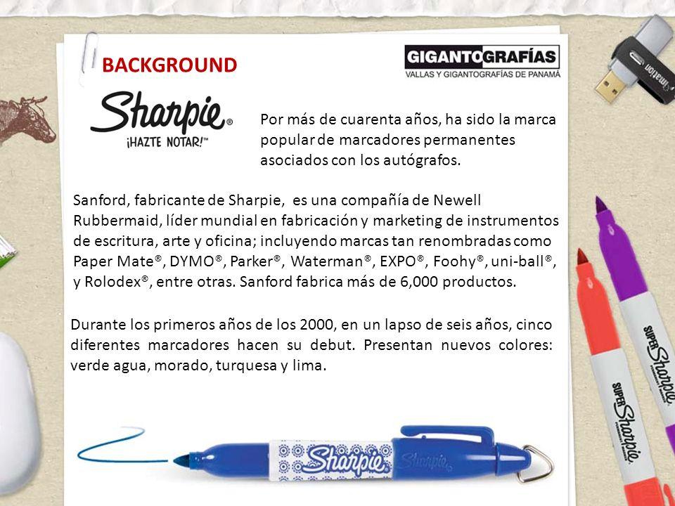 Por más de cuarenta años, ha sido la marca popular de marcadores permanentes asociados con los autógrafos. BACKGROUND Sanford, fabricante de Sharpie,