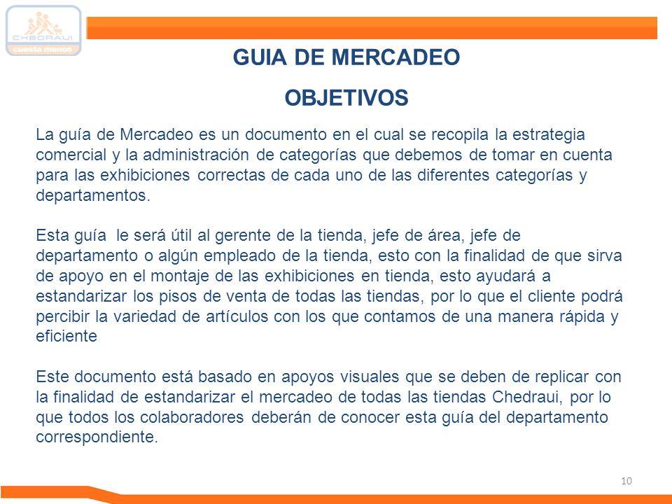 10 La guía de Mercadeo es un documento en el cual se recopila la estrategia comercial y la administración de categorías que debemos de tomar en cuenta