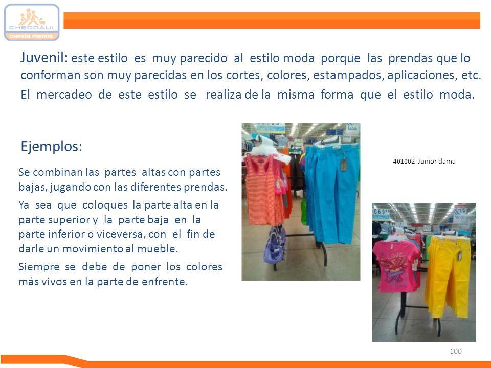 100 Juvenil: este estilo es muy parecido al estilo moda porque las prendas que lo conforman son muy parecidas en los cortes, colores, estampados, apli
