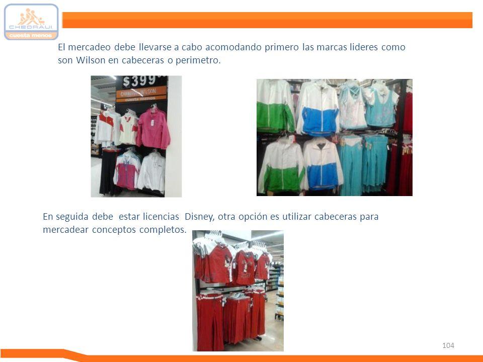 104 Nuevos Proyectos 2011Guía de Mercadeo El mercadeo debe llevarse a cabo acomodando primero las marcas lideres como son Wilson en cabeceras o perime