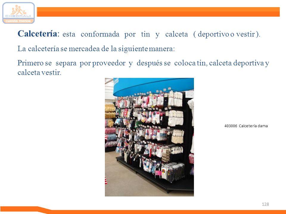 128 Calcetería: esta conformada por tin y calceta ( deportivo o vestir ). La calcetería se mercadea de la siguiente manera: Primero se separa por prov