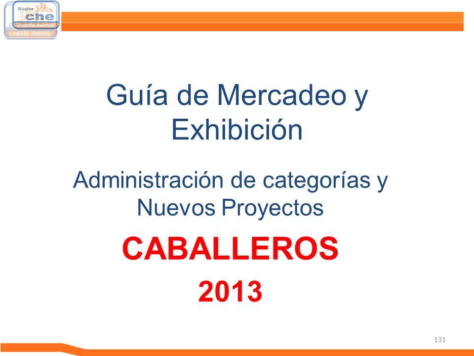 131 Guía de Mercadeo y Exhibición Guía de Mercadeo Administración de categorías y Nuevos Proyectos CABALLEROS 2013