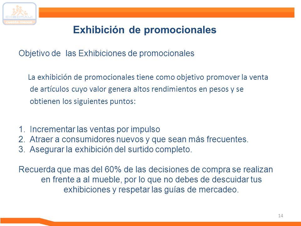 14 La exhibición de promocionales tiene como objetivo promover la venta de artículos cuyo valor genera altos rendimientos en pesos y se obtienen los s