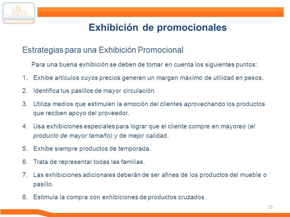 15 Para una buena exhibición se deben de tomar en cuenta los siguientes puntos: 1.Exhibe artículos cuyos precios generen un margen máximo de utilidad