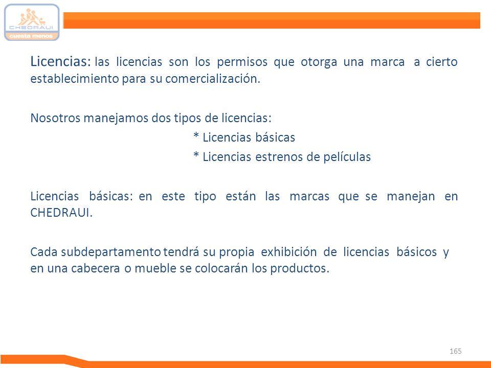 165 Licencias: las licencias son los permisos que otorga una marca a cierto establecimiento para su comercialización. Nosotros manejamos dos tipos de