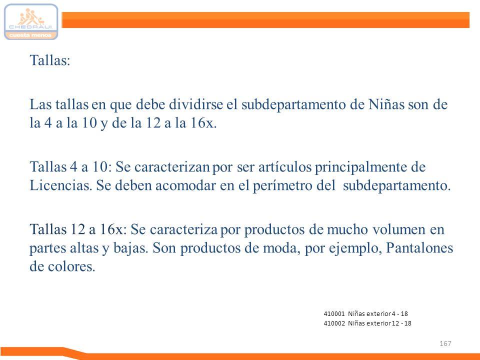 167 Tallas: Las tallas en que debe dividirse el subdepartamento de Niñas son de la 4 a la 10 y de la 12 a la 16x. Tallas 4 a 10: Se caracterizan por s
