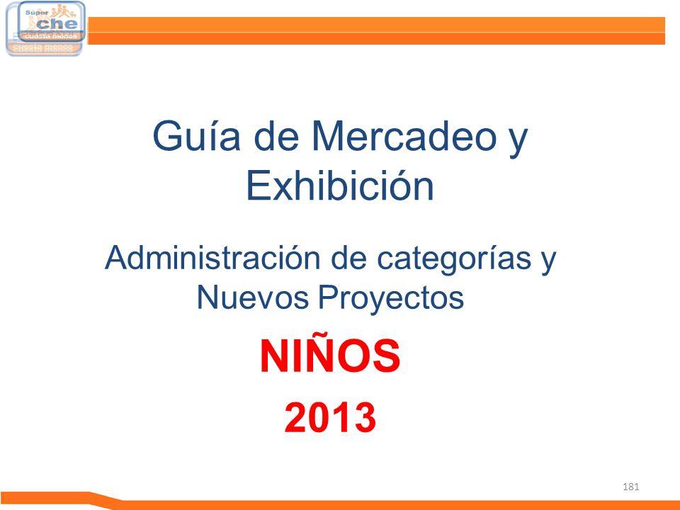 181 Guía de Mercadeo y Exhibición Guía de Mercadeo Administración de categorías y Nuevos Proyectos NIÑOS 2013