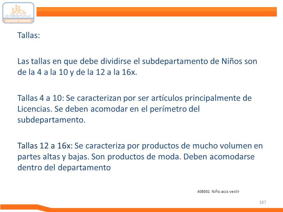 187 Tallas: Las tallas en que debe dividirse el subdepartamento de Niños son de la 4 a la 10 y de la 12 a la 16x. Tallas 4 a 10: Se caracterizan por s