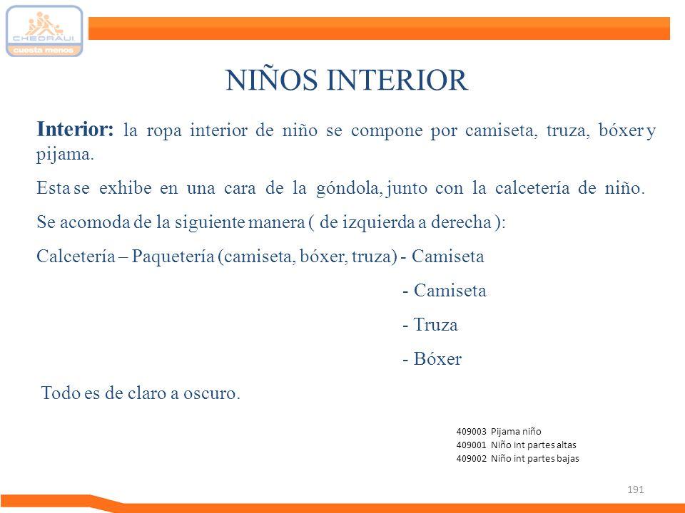 191 NIÑOS INTERIOR Interior: la ropa interior de niño se compone por camiseta, truza, bóxer y pijama. Esta se exhibe en una cara de la góndola, junto