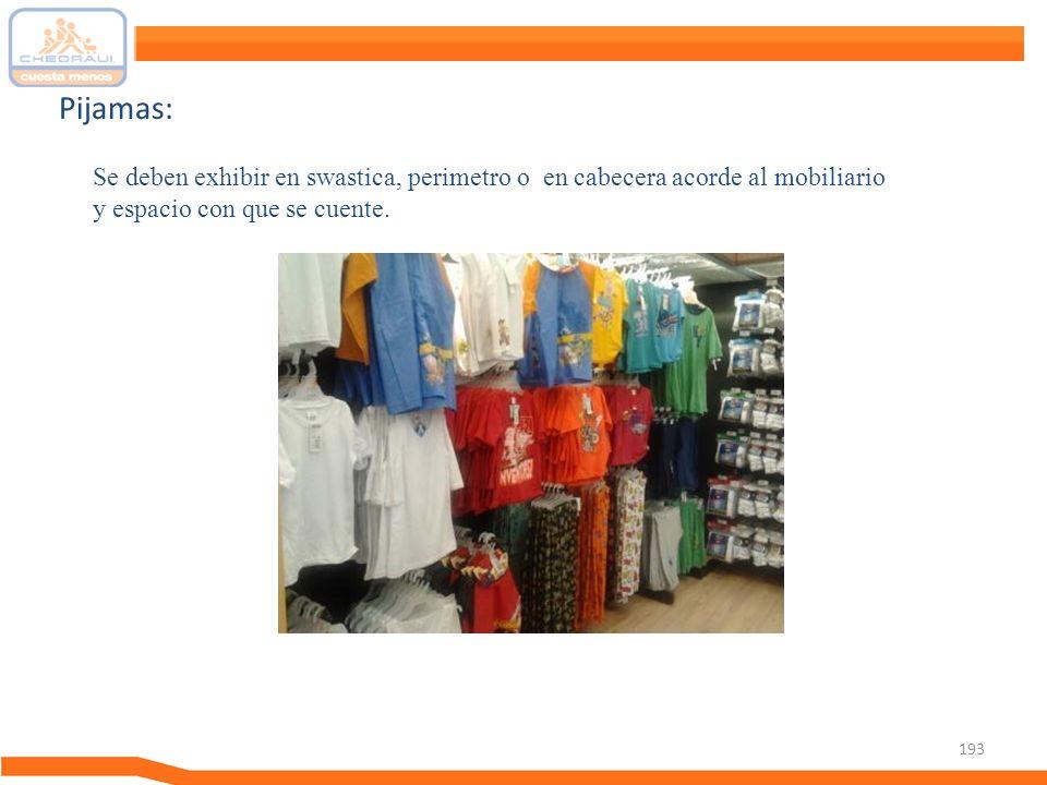 193 Pijamas: Se deben exhibir en swastica, perimetro o en cabecera acorde al mobiliario y espacio con que se cuente.