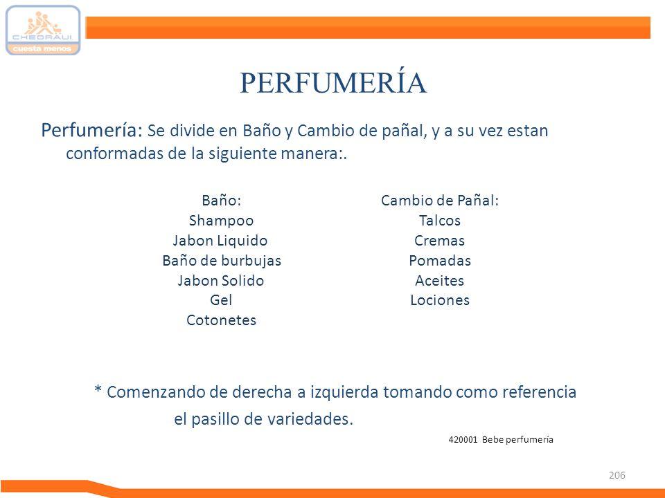 206 PERFUMERÍA Perfumería: Se divide en Baño y Cambio de pañal, y a su vez estan conformadas de la siguiente manera:. * Comenzando de derecha a izquie