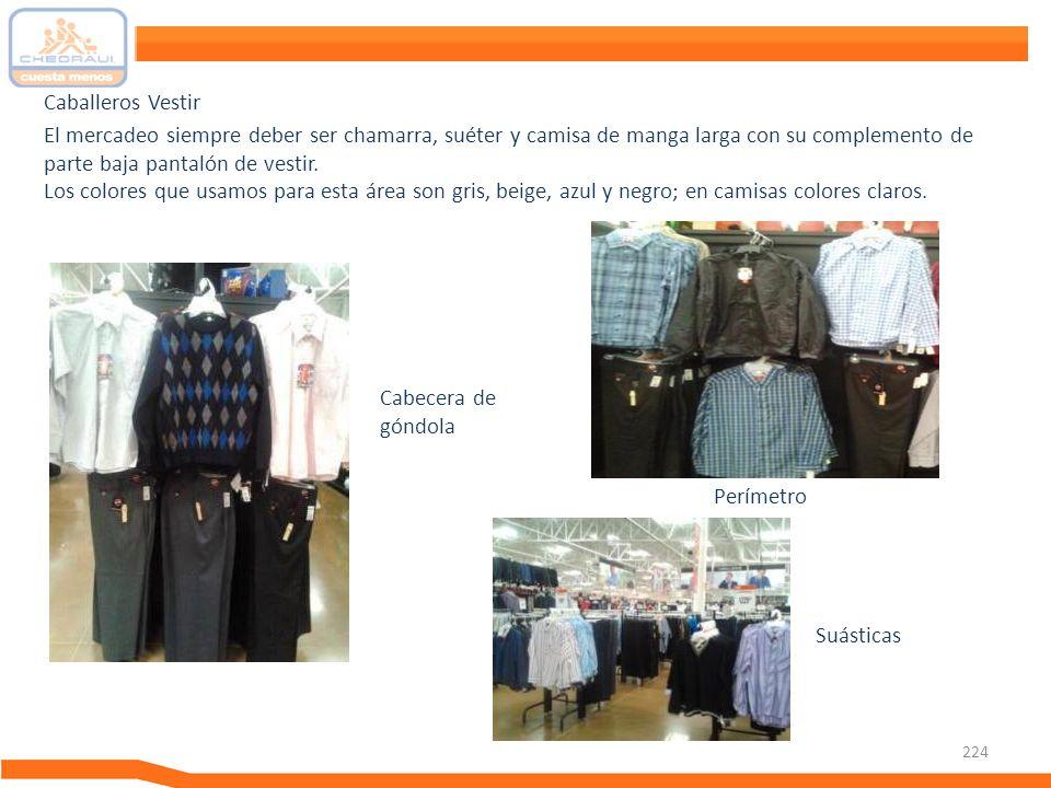224 El mercadeo siempre deber ser chamarra, suéter y camisa de manga larga con su complemento de parte baja pantalón de vestir. Los colores que usamos