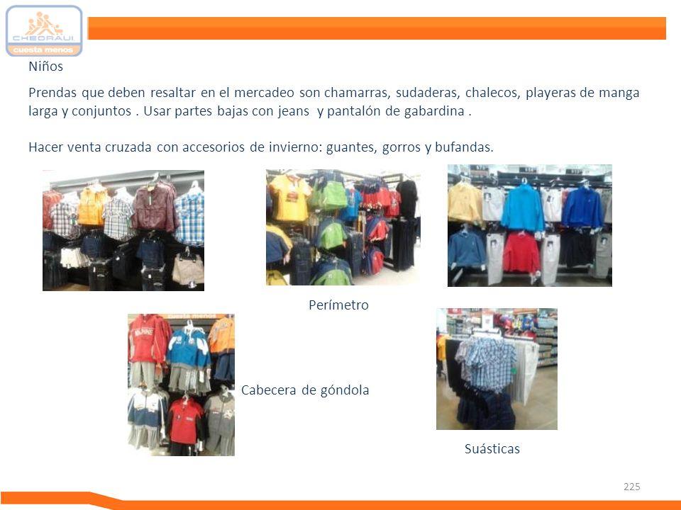 225 Prendas que deben resaltar en el mercadeo son chamarras, sudaderas, chalecos, playeras de manga larga y conjuntos. Usar partes bajas con jeans y p