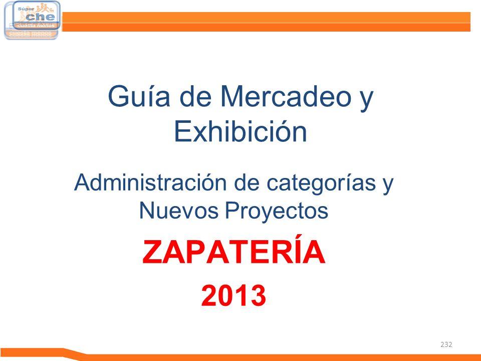 232 Guía de Mercadeo y Exhibición Guía de Mercadeo Administración de categorías y Nuevos Proyectos ZAPATERÍA 2013