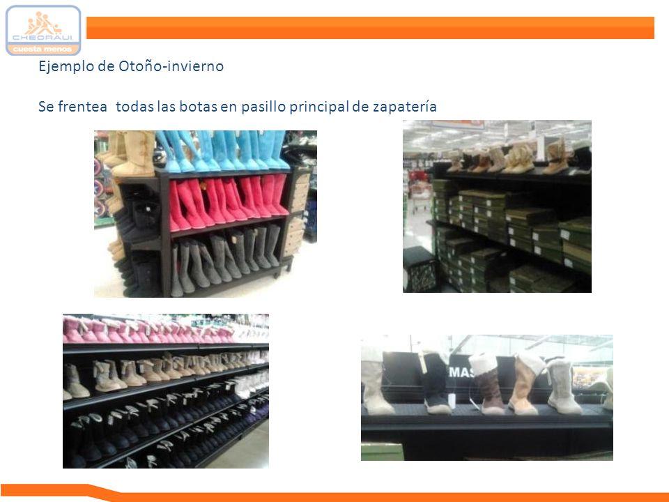 Ejemplo de Otoño-invierno Se frentea todas las botas en pasillo principal de zapatería