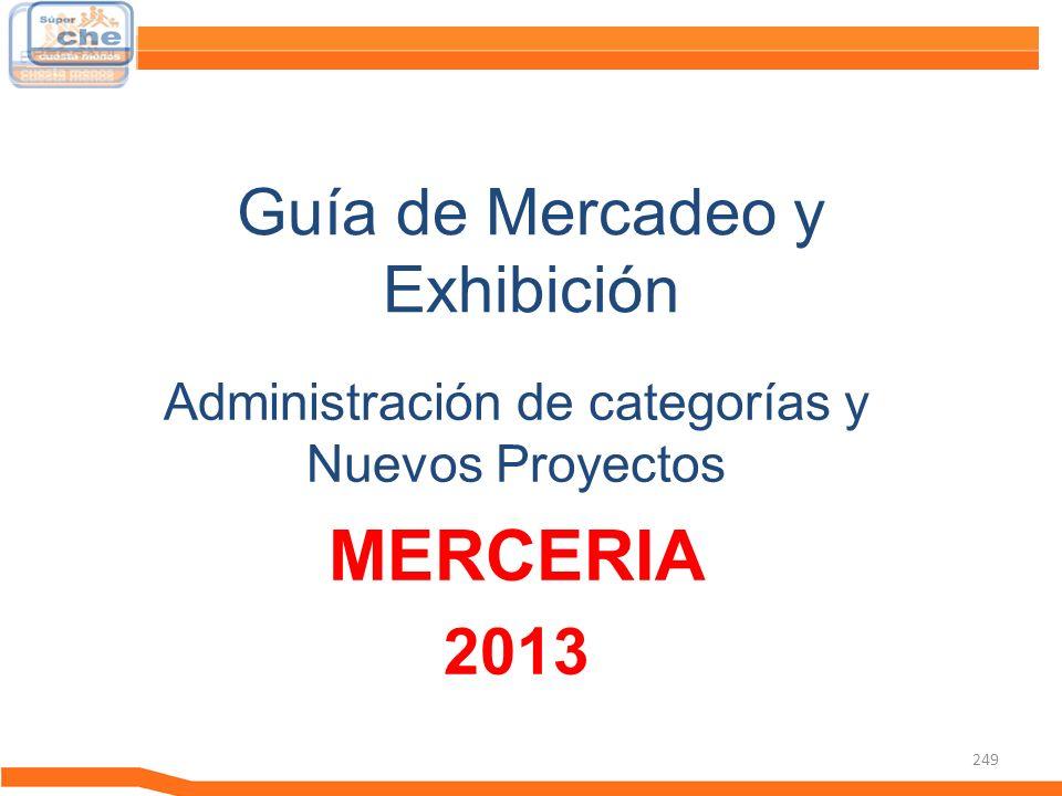 249 Guía de Mercadeo y Exhibición Guía de Mercadeo Administración de categorías y Nuevos Proyectos MERCERIA 2013