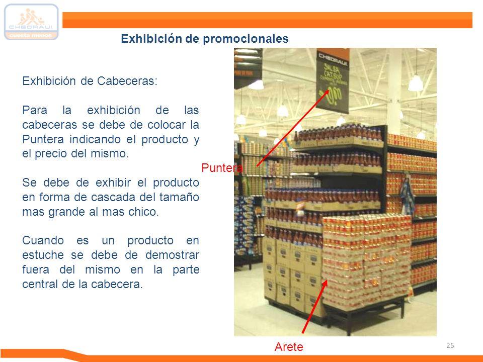 25 Exhibición de Cabeceras: Para la exhibición de las cabeceras se debe de colocar la Puntera indicando el producto y el precio del mismo. Se debe de