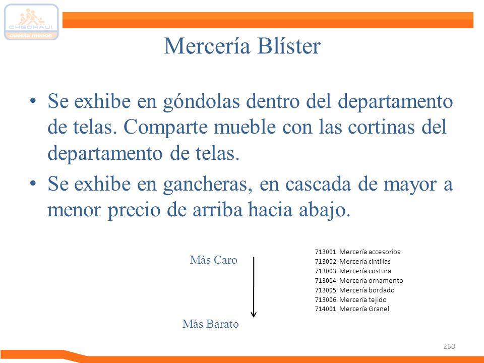 Mercería Blíster Se exhibe en góndolas dentro del departamento de telas. Comparte mueble con las cortinas del departamento de telas. Se exhibe en ganc