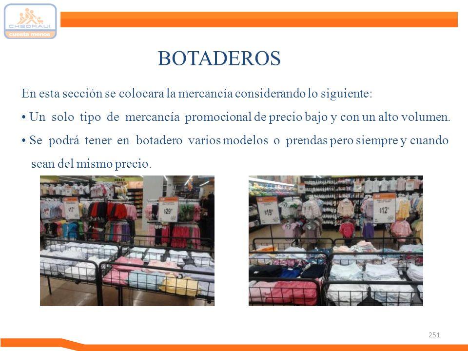 251 BOTADEROS En esta sección se colocara la mercancía considerando lo siguiente: Un solo tipo de mercancía promocional de precio bajo y con un alto v