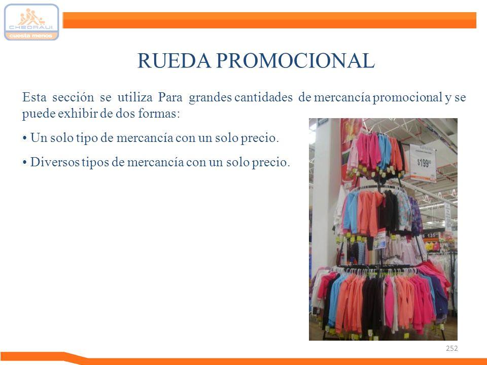 252 RUEDA PROMOCIONAL Esta sección se utiliza Para grandes cantidades de mercancía promocional y se puede exhibir de dos formas: Un solo tipo de merca
