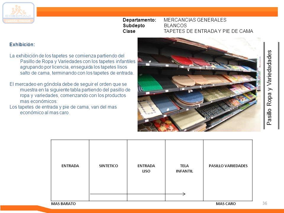 36 Departamento: MERCANCIAS GENERALES Subdepto BLANCOS ClaseTAPETES DE ENTRADA Y PIE DE CAMA Pasillo Ropa y Variedadades Exhibición: La exhibición de