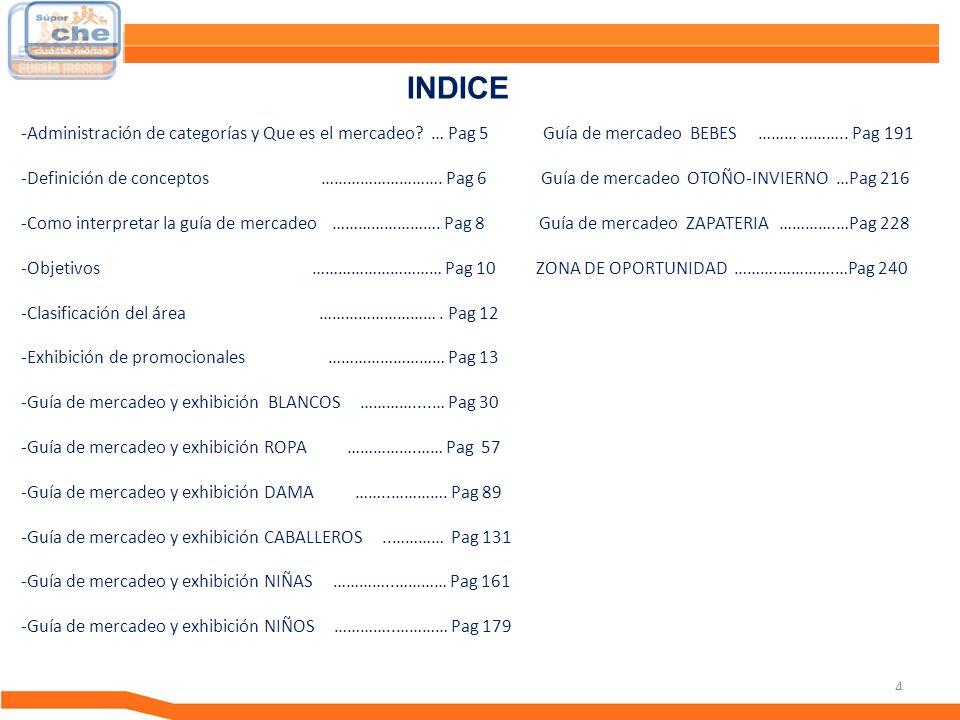4 Guía de Mercadeo INDICE -Administración de categorías y Que es el mercadeo? … Pag 5 Guía de mercadeo BEBES ……… ……….. Pag 191 -Definición de concepto