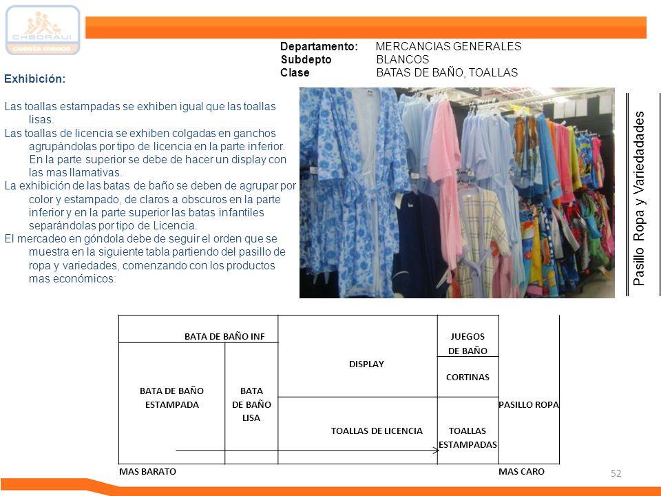 52 Departamento: MERCANCIAS GENERALES Subdepto BLANCOS ClaseBATAS DE BAÑO, TOALLAS Exhibición: Las toallas estampadas se exhiben igual que las toallas