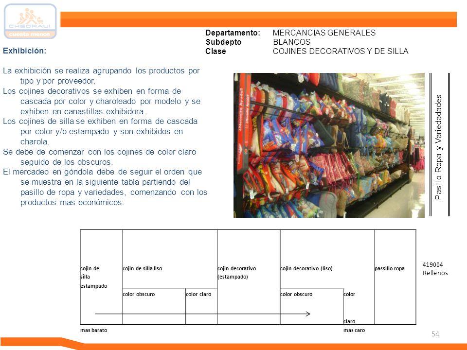 54 Departamento: MERCANCIAS GENERALES Subdepto BLANCOS ClaseCOJINES DECORATIVOS Y DE SILLA Exhibición: La exhibición se realiza agrupando los producto