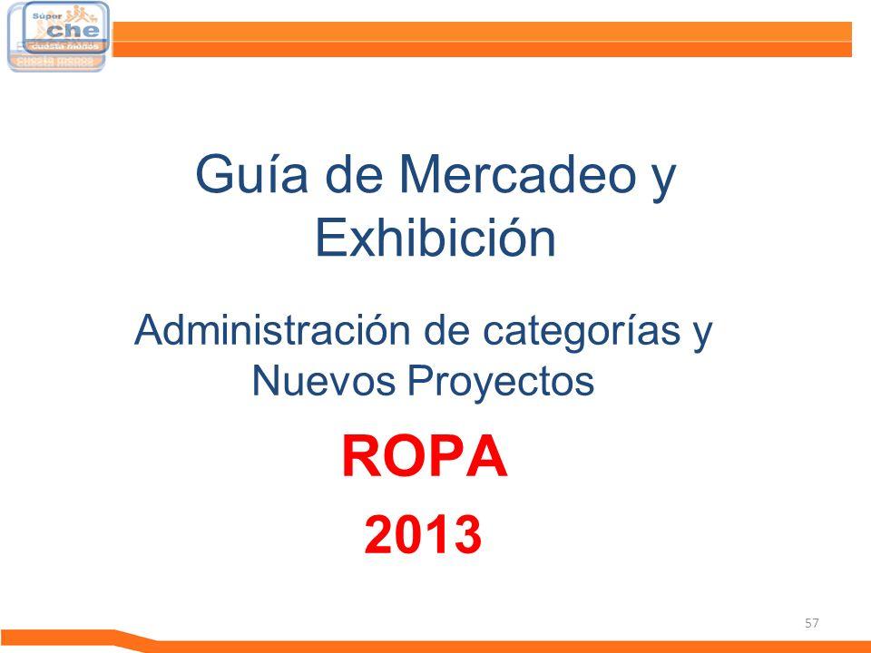 57 Guía de Mercadeo y Exhibición Guía de Mercadeo Administración de categorías y Nuevos Proyectos ROPA 2013