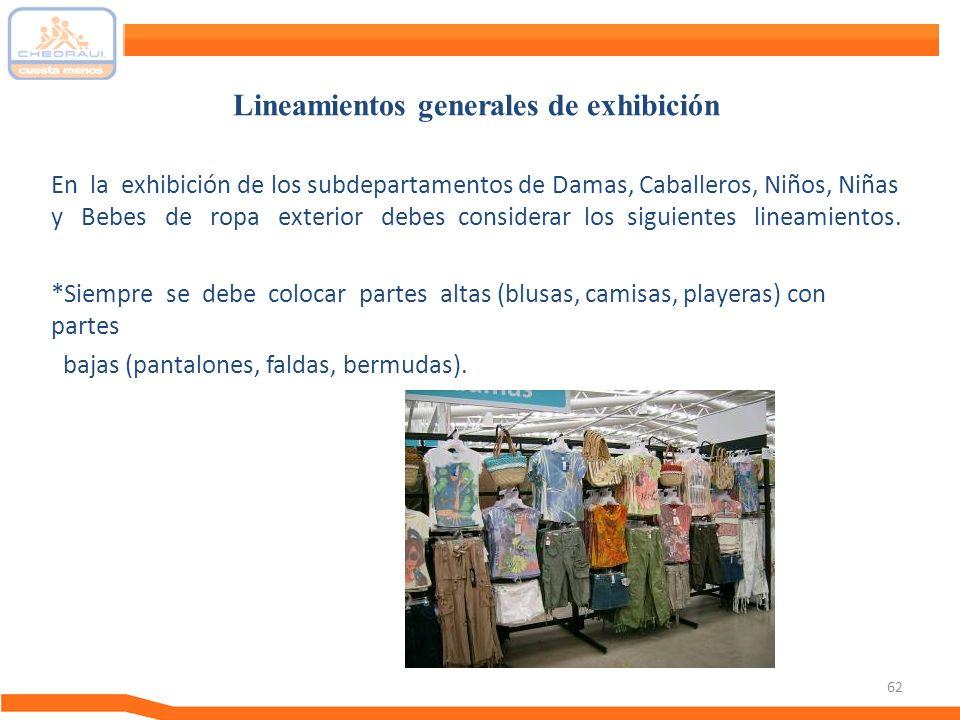 62 En la exhibición de los subdepartamentos de Damas, Caballeros, Niños, Niñas y Bebes de ropa exterior debes considerar los siguientes lineamientos.