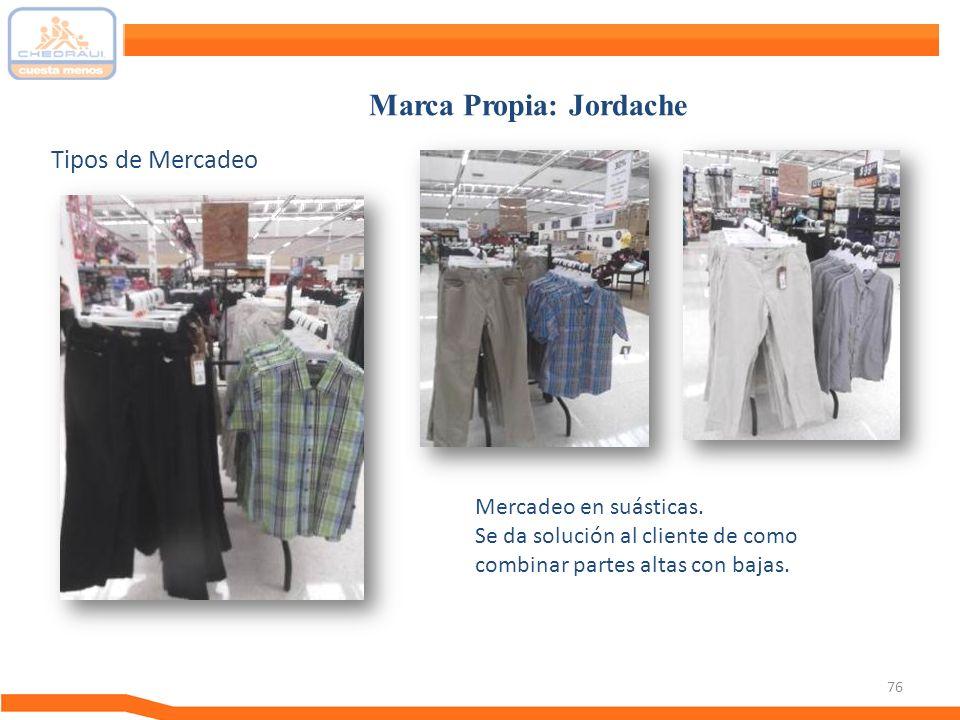 76 Tipos de Mercadeo Marca Propia: Jordache Mercadeo en suásticas. Se da solución al cliente de como combinar partes altas con bajas.
