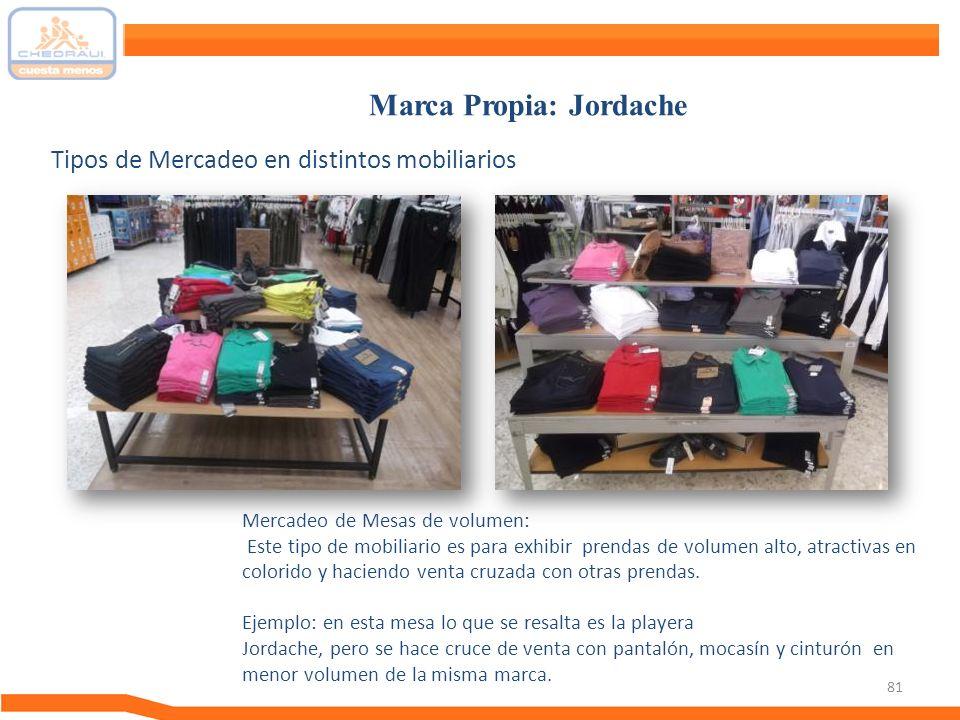 81 Tipos de Mercadeo en distintos mobiliarios Marca Propia: Jordache Mercadeo de Mesas de volumen: Este tipo de mobiliario es para exhibir prendas de