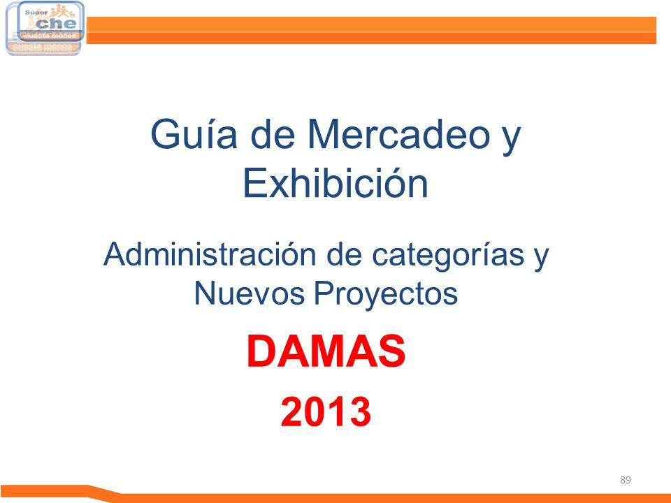 89 Guía de Mercadeo y Exhibición Guía de Mercadeo Administración de categorías y Nuevos Proyectos DAMAS 2013