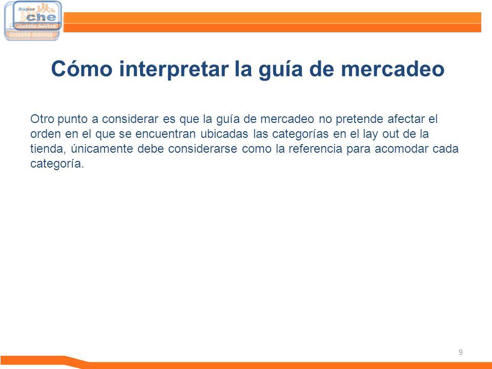 10 La guía de Mercadeo es un documento en el cual se recopila la estrategia comercial y la administración de categorías que debemos de tomar en cuenta para las exhibiciones correctas de cada uno de las diferentes categorías y departamentos.
