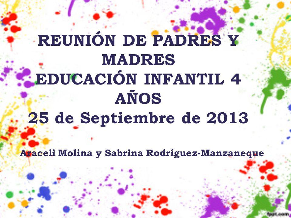 REUNIÓN DE PADRES Y MADRES EDUCACIÓN INFANTIL 4 AÑOS 25 de Septiembre de 2013 Araceli Molina y Sabrina Rodríguez-Manzaneque