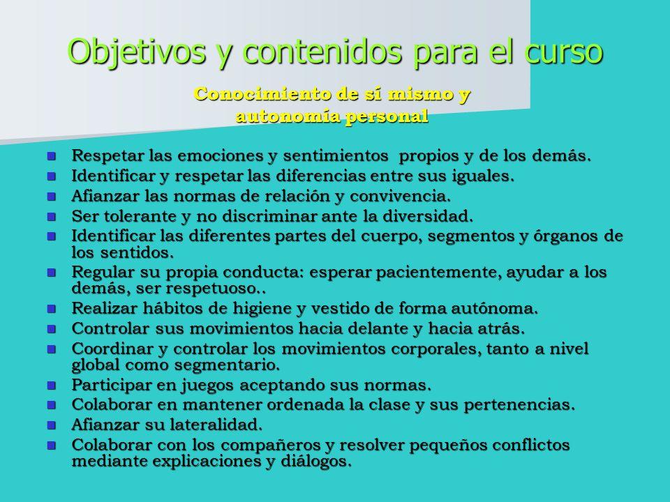 Objetivos y contenidos para el curso Respetar las emociones y sentimientos propios y de los demás.