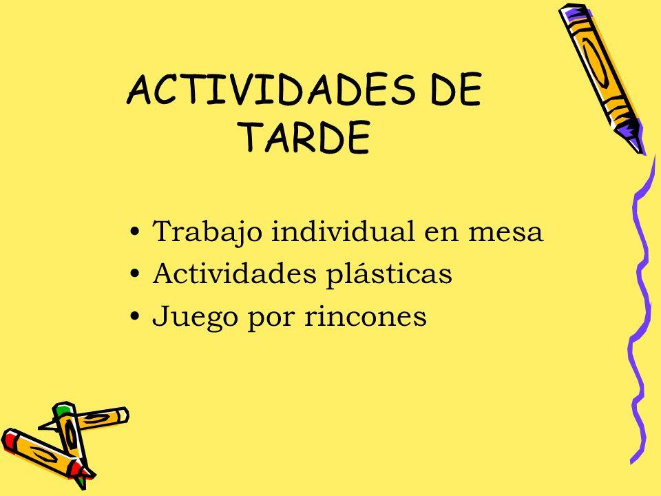 ACTIVIDADES DE TARDE Trabajo individual en mesa Actividades plásticas Juego por rincones