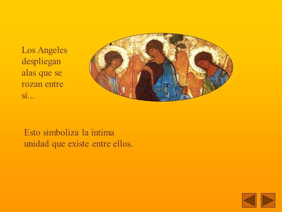 El ícono representa, la visita de tres Angeles a Abraham, junto al encinar de Mambré...