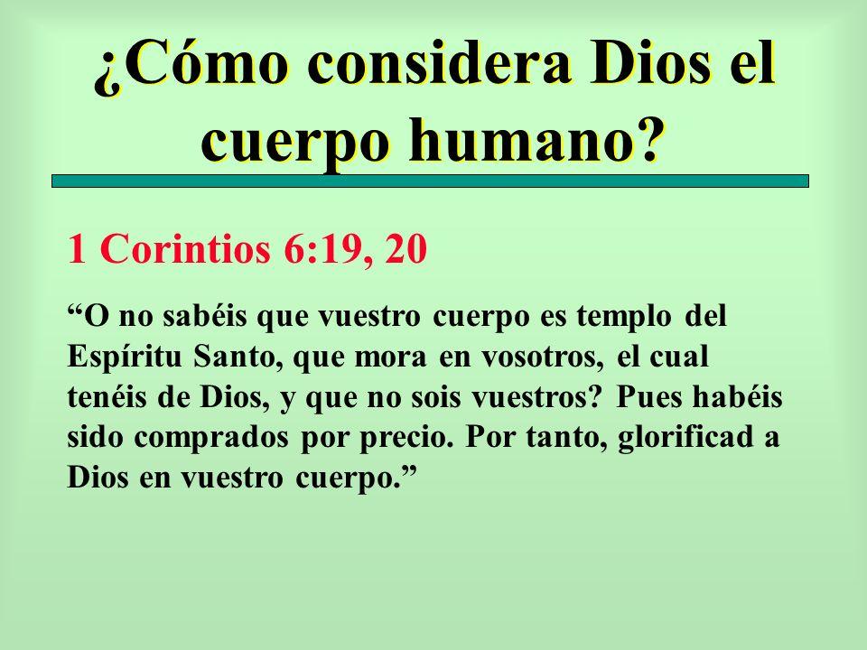 ¿Cómo considera Dios el cuerpo humano? 1 Corintios 6:19, 20 O no sabéis que vuestro cuerpo es templo del Espíritu Santo, que mora en vosotros, el cual