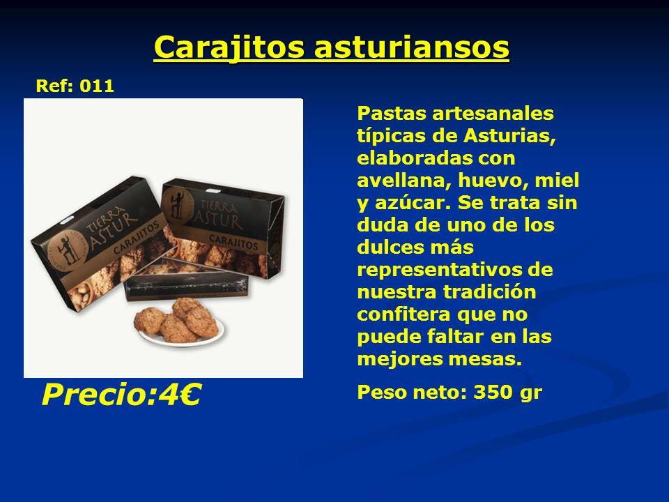 Carajitos asturiansos Ref: 011 Pastas artesanales típicas de Asturias, elaboradas con avellana, huevo, miel y azúcar.