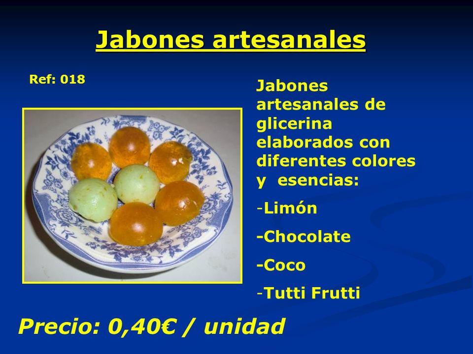 Jabones artesanales Ref: 018 Jabones artesanales de glicerina elaborados con diferentes colores y esencias: -Limón -Chocolate -Coco -Tutti Frutti Precio: 0,40 / unidad