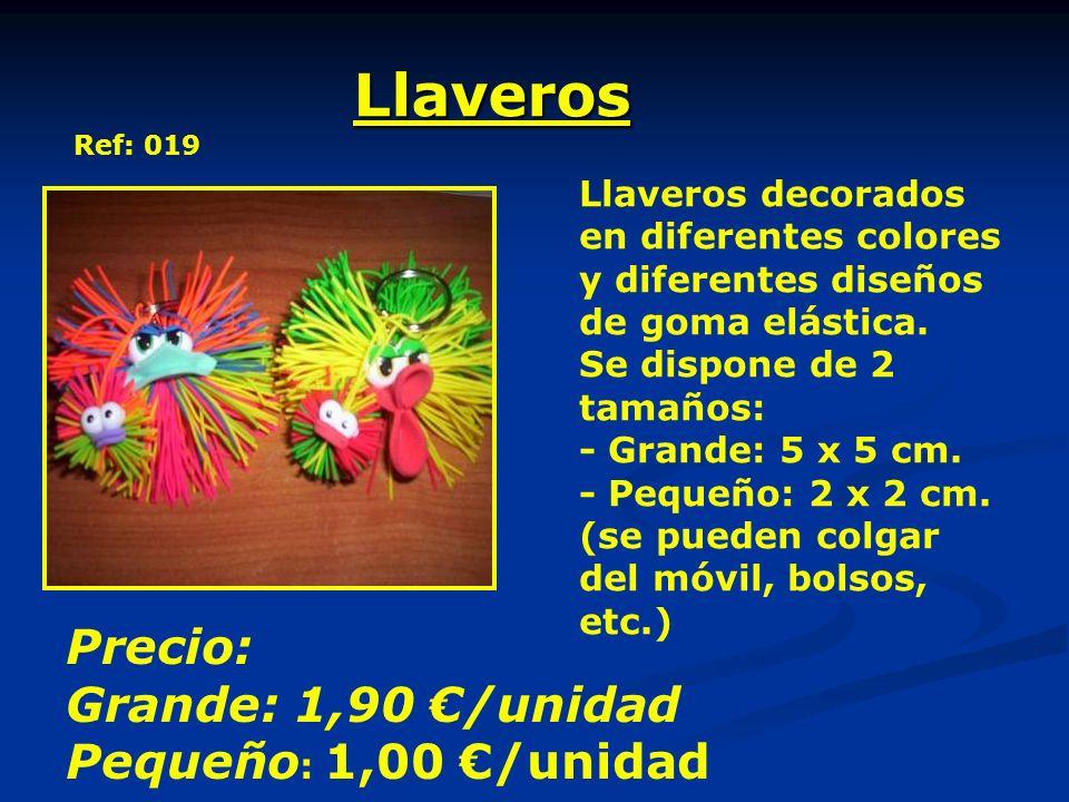 Llaveros Ref: 019 Llaveros decorados en diferentes colores y diferentes diseños de goma elástica. Se dispone de 2 tamaños: - Grande: 5 x 5 cm. - Peque