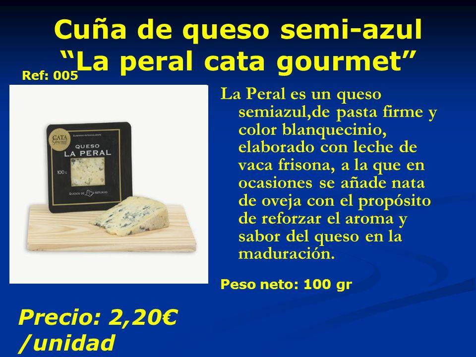 Cuña de queso semi-azul La peral cata gourmet La Peral es un queso semiazul,de pasta firme y color blanquecinio, elaborado con leche de vaca frisona, a la que en ocasiones se añade nata de oveja con el propósito de reforzar el aroma y sabor del queso en la maduración.