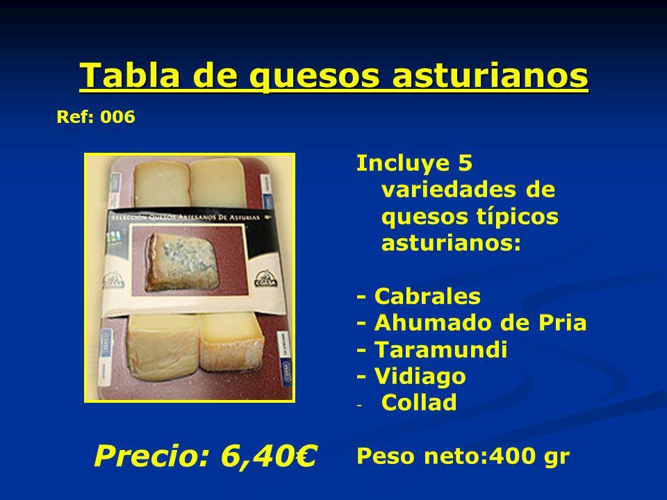 Tabla de quesos asturianos Incluye 5 variedades de quesos típicos asturianos: - Cabrales - Ahumado de Pria - Taramundi - Vidiago - - Collad Peso neto:400 gr Precio: 6,40 Ref: 006