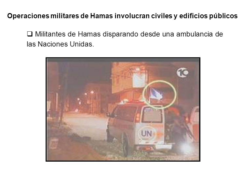 Soldado de Hamas disparando un cohete con ropa de civil desde una zona residencial.