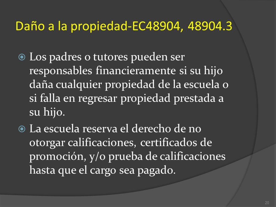 Daño a la propiedad-EC48904, 48904.3 Los padres o tutores pueden ser responsables financieramente si su hijo daña cualquier propiedad de la escuela o